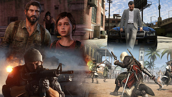 Zleva The Last of Us, Grand Theft Auto V, Battlefield 4 a Assassin's Creed IV: Black Flag