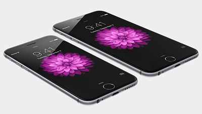 Zleva iPhone 6 a iPhone 6 Plus