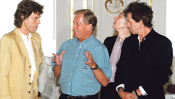 Mick Jagger, Václav Havel, Charlie Watts a Keith Richards