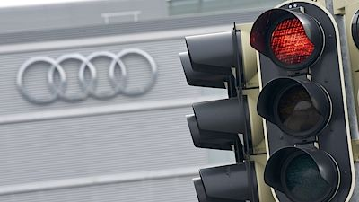 A red traffic light is seen in front of the Audi headquarters in IngolstadtA red traffic light is seen in front of the Audi headquarters in Ingolstadt, Germany, March 15, 2017. REUTERS/Lukas Barth