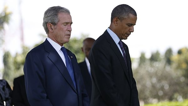 Prezidenti USA George W. Bush a Barack Obama