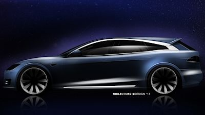 Tesla Model S Shooting Brake - ilustrace