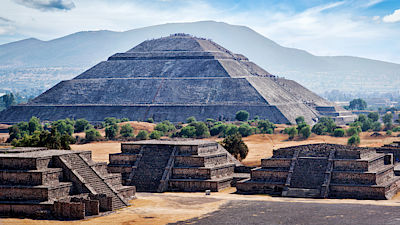 Panorama of Pyramid of the Sun. Teotihuacan