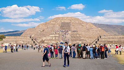 Tourists at the Teotihuacan archaeological site near Mexico City