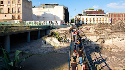 ruins of the Templo Mayor, one of the main temples of the Aztecs in their capital of Tenochtitlan