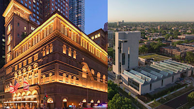 Renovace newyorské Carnegie Hall od New York City od atelier Iu + Bibliowicz Architects LLP a výstavní object Revy and Davida Loganových v Chicagu od Tod Williams Billie Tsien Architects a Holabird & Root.