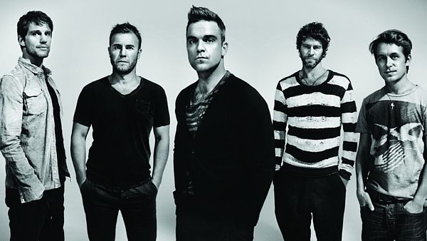 Take That ještě v pěti, zleva Jason Orange, Gary Barlow, Robbie Williams, Howard Donald a Mark Owen.