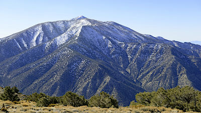 Telescope Peak in the Panamint Range, highest point in Death Valley National Park, California. The peak is a popular mountain to climb even when covered in snow in winter.