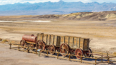 DEATH VALLEY, USA - MAY 23,2015 - The Harmony Borax Works is located in Death Valley at Furnace Creek Springs.It is located within Death Valley