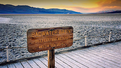 The salt flats in Badwater Basin in Death Valley National Park. Badwater Basin in the lowest point in North America at 282 feet below sea level.