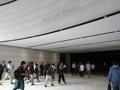People await the start of a product launch event at Apple's new campus in CupertinoPeople enter the Steve Jobs Theater before the start of a product launch event at Apple's new campus in Cupertino, California, U.S. September 12, 2017. REUTERS/Stephen Lam