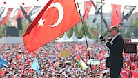 Turecký prezident Recep Tayyip Erdogan na manifestaci