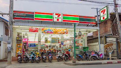 PAI, THAILAND - April 10, 2016 7-Eleven in the evening in PAI, 7-Eleven is convenience store with largest number of outlets in Thailand