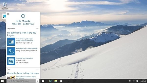 Cortana ve Windows 10