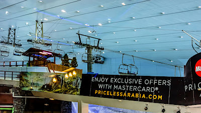 DUBAI, UNITED ARAB EMIRATES - SEPTEMBER 6, 2015 Ski Dubai - is an indoor ski resort with 22,500 square meters of indoor ski area. It is a part of the Mall of the Emirates.