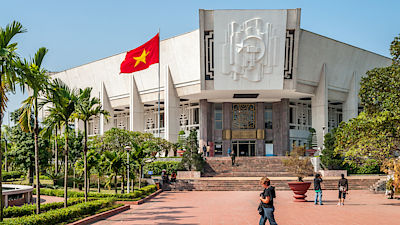 HANOI, VIETNAM - NOVEMBER 24,2009 - Ho Chi Minh Museum in Hanoi.The museum displays manuscripts, books and photographs of Ho Chi Minh.