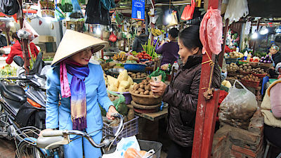 Hanoi, Vietnam - February 19, 2016 Woman buying vegetables on a local market in Hanoi, Vietnam