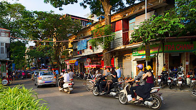 HANOI, VIETNAM - OCTOBER 27, 2016 Traffic in Old Quarter