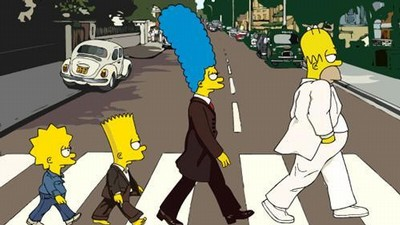 Homer, Marge, Bart a Lisa na londýnské Abbey Road.