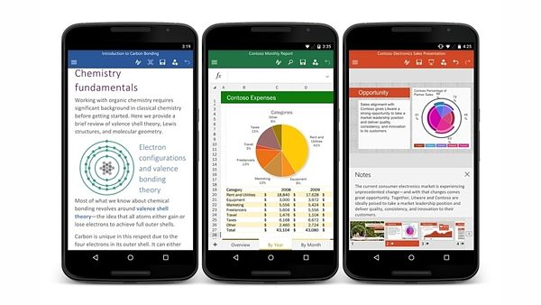 Zleva Word, Excel a PowerPoint pro Android