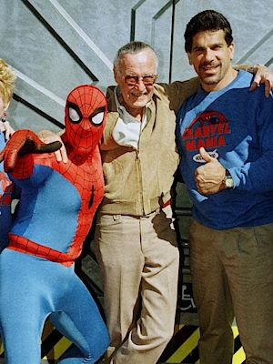 The commander of Marvel Comics Stan Lee (center) with Spider-Man and actor Lou Ferrign, who starred in Hulk.