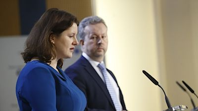 Minister of Labor and Social Affairs Jana Malacova and Deputy Prime Minister and Minister of the Environment Richard Brabec at a press conference after the government meeting