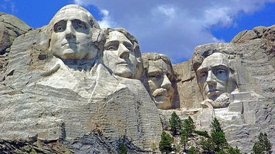 Zleva George Washington, Thomas Jefferson, Theodore Roosevelt a Abraham Lincoln.