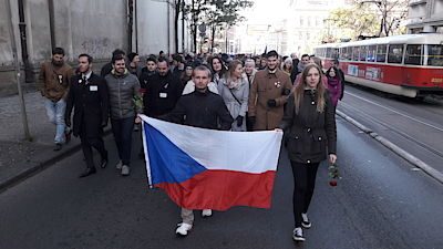 The students' march went from Hlávka's school to Albertov. On the way, he headed for Zitna Street, where Jan Opletal was injured on 28 October during the anti-Nazi demonstration.