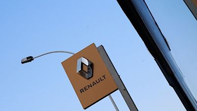 The Renault automaker company logo is displayed on a dealership in ParisThe Renault automaker company logo is displayed on a dealership in Paris, France, November 21, 2018. REUTERS/Gonzalo Fuentes